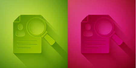 Paper cut Document, paper analysis magnifying glass icon isolated on green and pink background. Evidence symbol. Paper art style. Vector