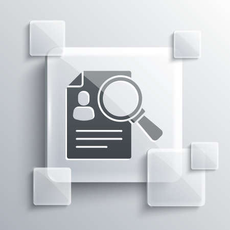 Grey Document, paper analysis magnifying glass icon isolated on grey background. Evidence symbol. Square glass panels. Vector 向量圖像