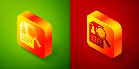 Isometric Document, paper analysis magnifying glass icon isolated on green and red background. Evidence symbol. Square button. Vector 向量圖像