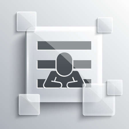 Grey Prisoner icon isolated on grey background. Square glass panels. Vector