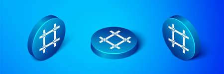 Isometric Prison window icon isolated on blue background. Blue circle button. Vector Ilustrace