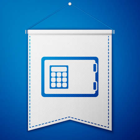 Blue Safe icon isolated on blue background. The door safe a bank vault with a combination lock. Reliable Data Protection. White pennant template. Vector