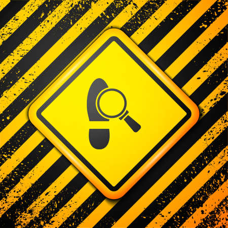 Black Magnifying glass with footsteps icon isolated on yellow background. Detective is investigating. To follow in the footsteps. Warning sign. Vector