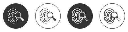 Black Magnifying glass with fingerprint icon isolated on white background. Identification sign. Circle button. Vector 矢量图像
