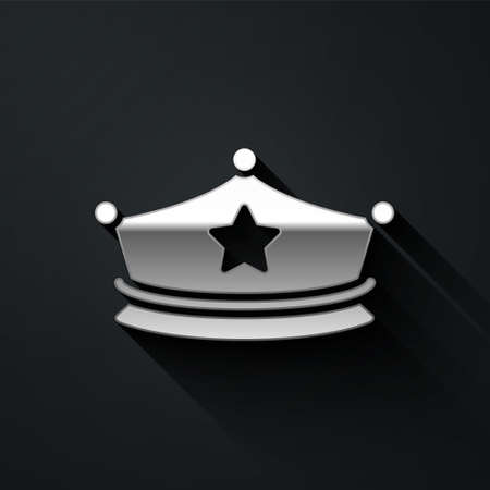 Silver Police cap with cockade icon isolated on black background. Police hat sign. Long shadow style. Vector