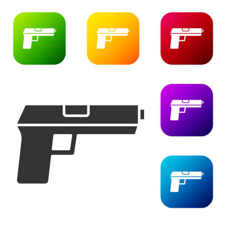 Black Pistol or gun icon isolated on white background. Police or military handgun. Small firearm. Set icons in color square buttons. Vector