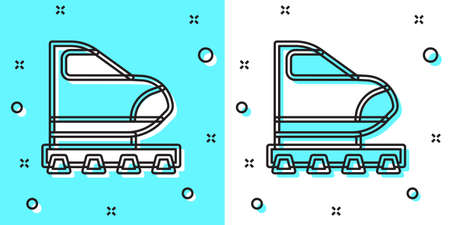 Black line High-speed train icon isolated on green and white background. Railroad travel and railway tourism. Subway or metro streamlined fast train transport. Random dynamic shapes. Vector