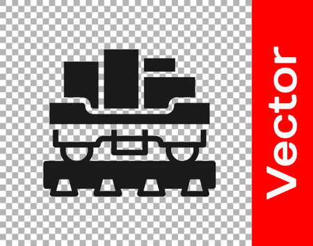 Black Cargo train wagon icon isolated on transparent background. Full freight car. Railroad transportation. Vector Illusztráció