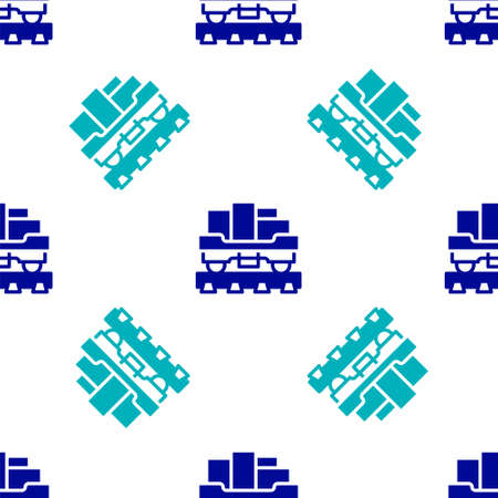 Blue Cargo train wagon icon isolated seamless pattern on white background. Full freight car. Railroad transportation. Vector