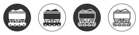 Black Coal train wagon icon isolated on white background. Rail transportation. Circle button. Vector