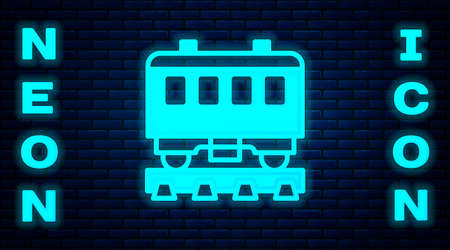 Glowing neon Passenger train cars icon isolated on brick wall background. Railway carriage. Vector Illustration