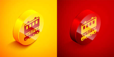 Isometric Passenger train cars icon isolated on orange and red background. Railway carriage. Circle button. Vector