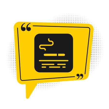 Black Smoking area icon isolated on white background. Yellow speech bubble symbol. Vector Stock fotó - 157387277