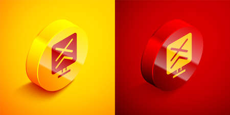 Isometric Railroad crossing icon isolated on orange and red background. Railway sign. Circle button. Vector Illustration