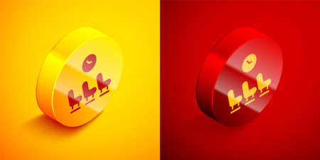 Isometric Waiting room icon isolated on orange and red background. Circle button. Vector
