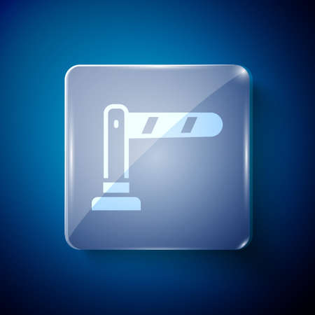 White Railway barrier icon isolated on blue background. Square glass panels. Vector
