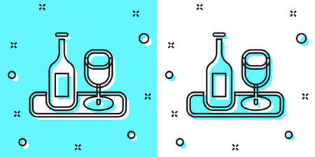 Black line Wine bottle with glass icon isolated on green and white background. Random dynamic shapes. Vector