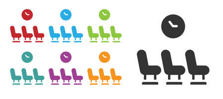 Black Waiting room icon isolated on white background. Set icons colorful. Vector