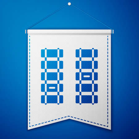 Blue Railway, railroad track icon isolated on blue background. White pennant template. Vector