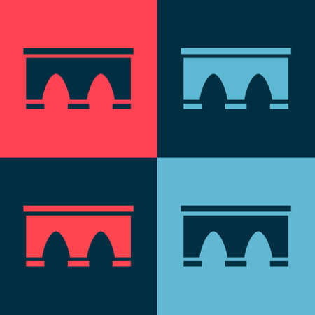 Pop art Bridge for train icon isolated on color background. Vector