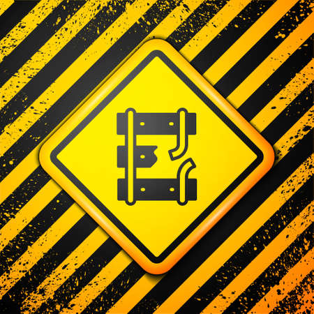 Black Broken or cracked rails on a railway icon isolated on yellow background. Warning sign. Vector