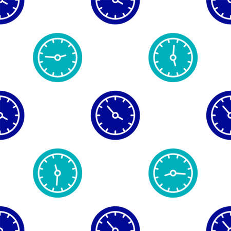 Blue Train station clock icon isolated seamless pattern on white background. Vector Vettoriali