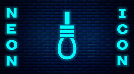 Glowing neon Gallows rope loop hanging icon isolated on brick wall background. Rope tied into noose. Suicide, hanging or lynching. Vector