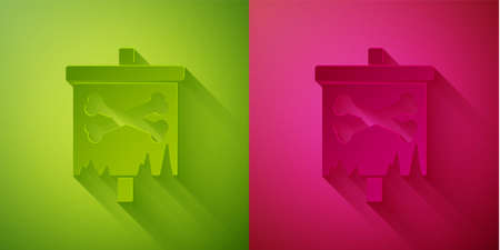 Paper cut Pirate flag icon isolated on green and pink background. Paper art style. Vector