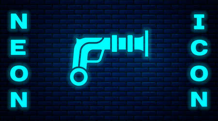 Glowing neon Vintage pistols icon isolated on brick wall background. Ancient weapon. Vector