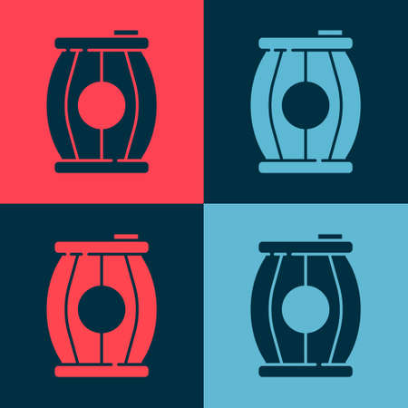Pop art Gun powder barrel icon isolated on color background. TNT dynamite wooden old barrel. Vector Vettoriali