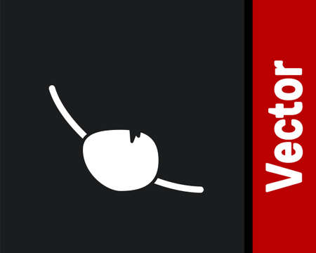 White Pirate eye patch icon isolated on black background. Pirate accessory. Vector