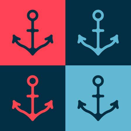 Pop art Anchor icon isolated on color background. Vector Ilustrace