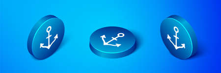 Isometric Anchor icon isolated on blue background. Blue circle button. Vector