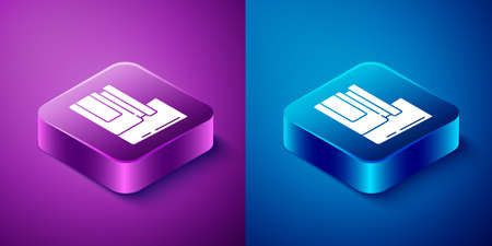 Isometric Baby food icon isolated on blue and purple background. Square button. Vector Çizim