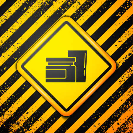 Black Baby food icon isolated on yellow background. Warning sign. Vector Stok Fotoğraf - 157387385