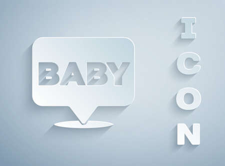 Paper cut Baby icon isolated on grey background. Paper art style. Vector Illustration