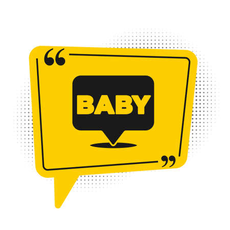 Black Baby icon isolated on white background. Yellow speech bubble symbol. Vector