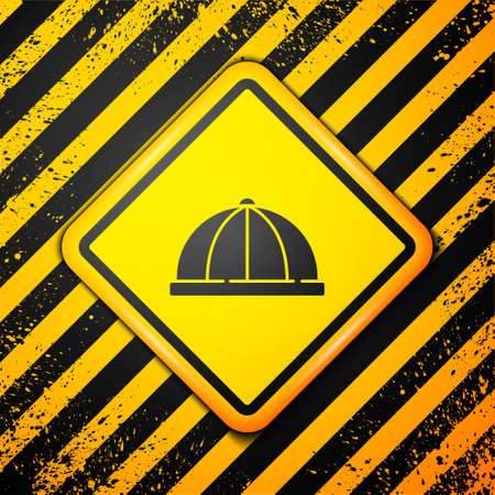Black Baby hat icon isolated on yellow background. Warning sign. Vector Stok Fotoğraf - 157387397