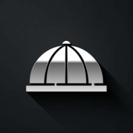 Silver Baby hat icon isolated on black background. Long shadow style. Vector