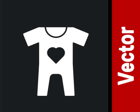 White Baby clothes icon isolated on black background. Baby clothing for baby girl and boy. Baby bodysuit. Vector