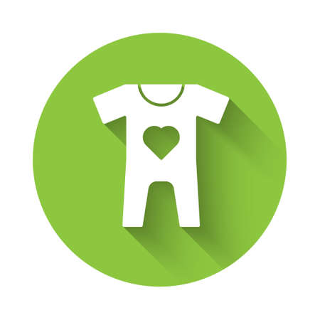 White Baby clothes icon isolated with long shadow. Baby clothing for baby girl and boy. Baby bodysuit. Green circle button. Vector 矢量图像
