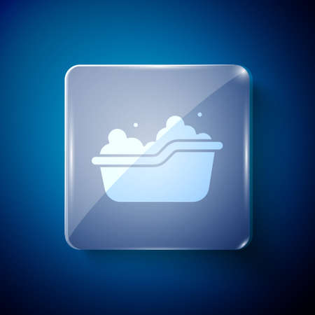 White Baby bathtub with foam bubbles inside icon isolated on blue background. Square glass panels. Vector 矢量图像