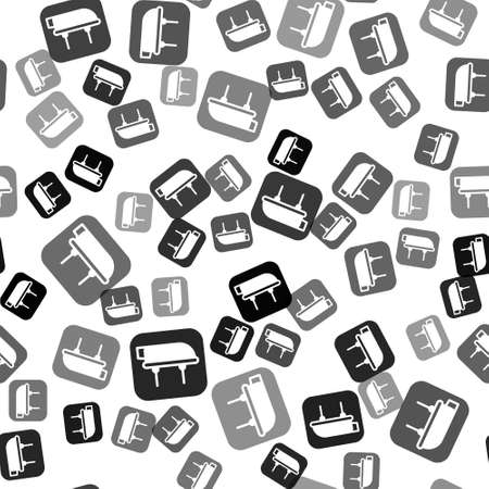 Black Lifeboat icon isolated seamless pattern on white background. Vector Illustration
