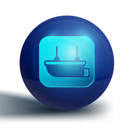 Blue Lifeboat icon isolated on white background. Blue circle button. Vector Illustration