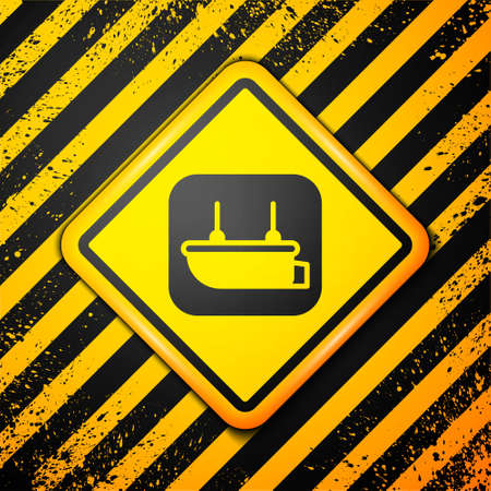 Black Lifeboat icon isolated on yellow background. Warning sign. Vector