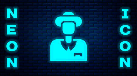 Glowing neon Tourist icon isolated on brick wall background. Travelling, vacation, tourism concept. Vector