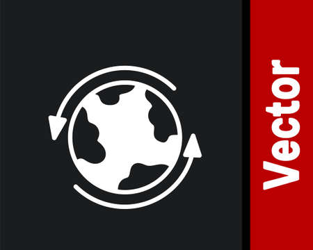 White Worldwide icon isolated on black background. Pin on globe. Vector