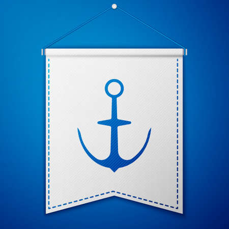 Blue Anchor icon isolated on blue background. White pennant template. Vector