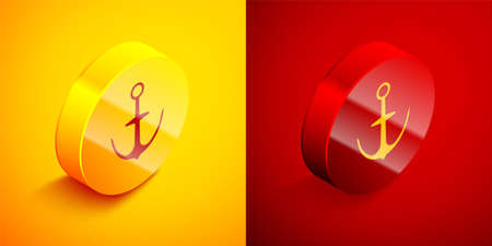 Isometric Anchor icon isolated on orange and red background. Circle button. Vector Ilustrace