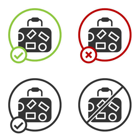 Black Suitcase for travel icon isolated on white background. Traveling baggage sign. Travel luggage icon. Circle button. Vector Vettoriali